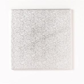 Placa prateada de cartão quadrada 35cm