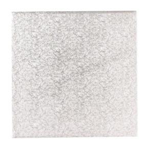 Base prateada de cartão quadrada 17cm