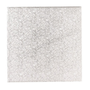 Base prateada de cartão quadrada 27,5cm