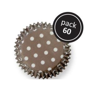 Tacinhas de Cupcakes Castanha c/ Pontos Brancos -Conj. 60