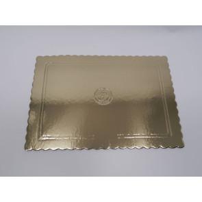 Prato dourado rectangular ondulado 40x50cm (Aba)