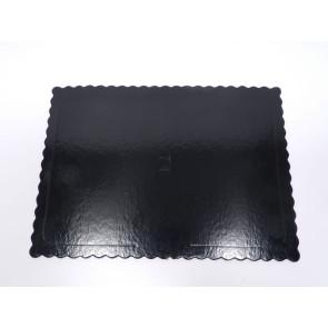 Prato preto rectangular ondulado 30x40cm (Aba)