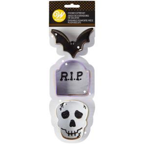 Cortador Halloween Morcego, Lápide, Caveira, Conj 3- Wilton