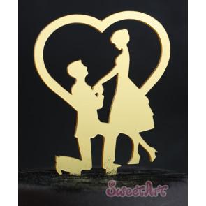 Topo de Bolo Acrílico Noivos com Coração Dourado