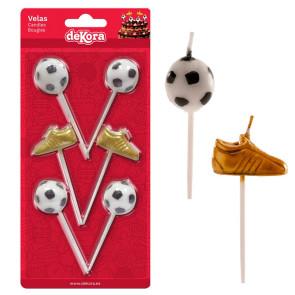Velas Bola e Chuteira Futebol - Conj. 6 - Dekora