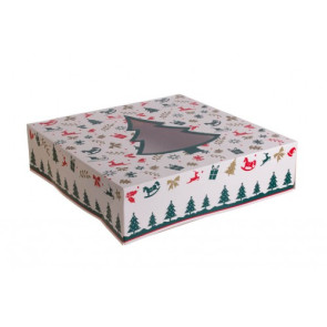 Caixa Cartolina para bolos Árvore Natal 30x30 cm