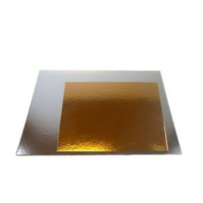 Base dourada/prateada quadrada 17,5x17,5 cm Conj. 3